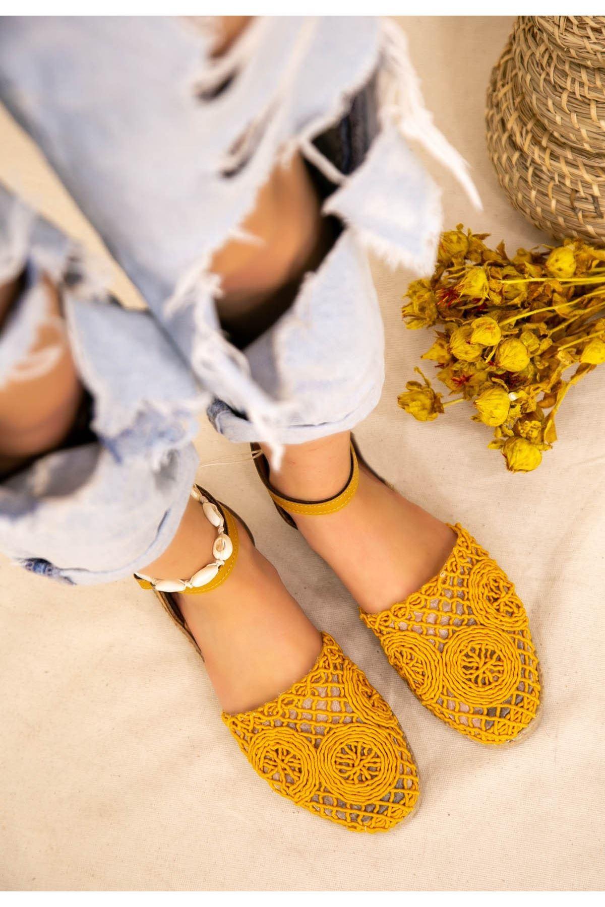 Ecer Hardal Örgülü Sandalet
