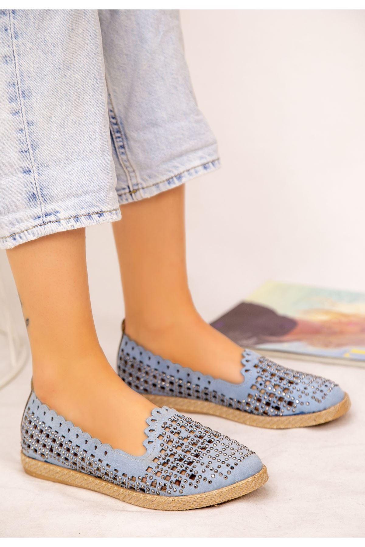 Crix Bebe Mavisi Süet Boncuk İşlemeli Babet Ayakkabı