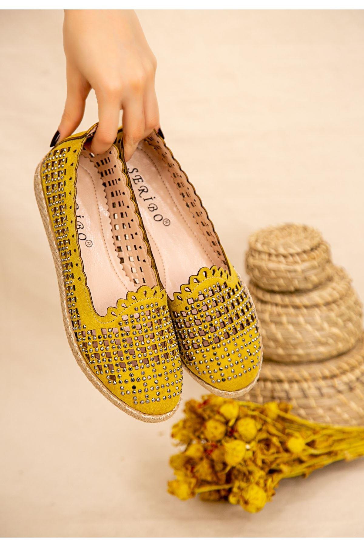 Crix Hardal Süet Boncuk İşlemeli Babet Ayakkabı