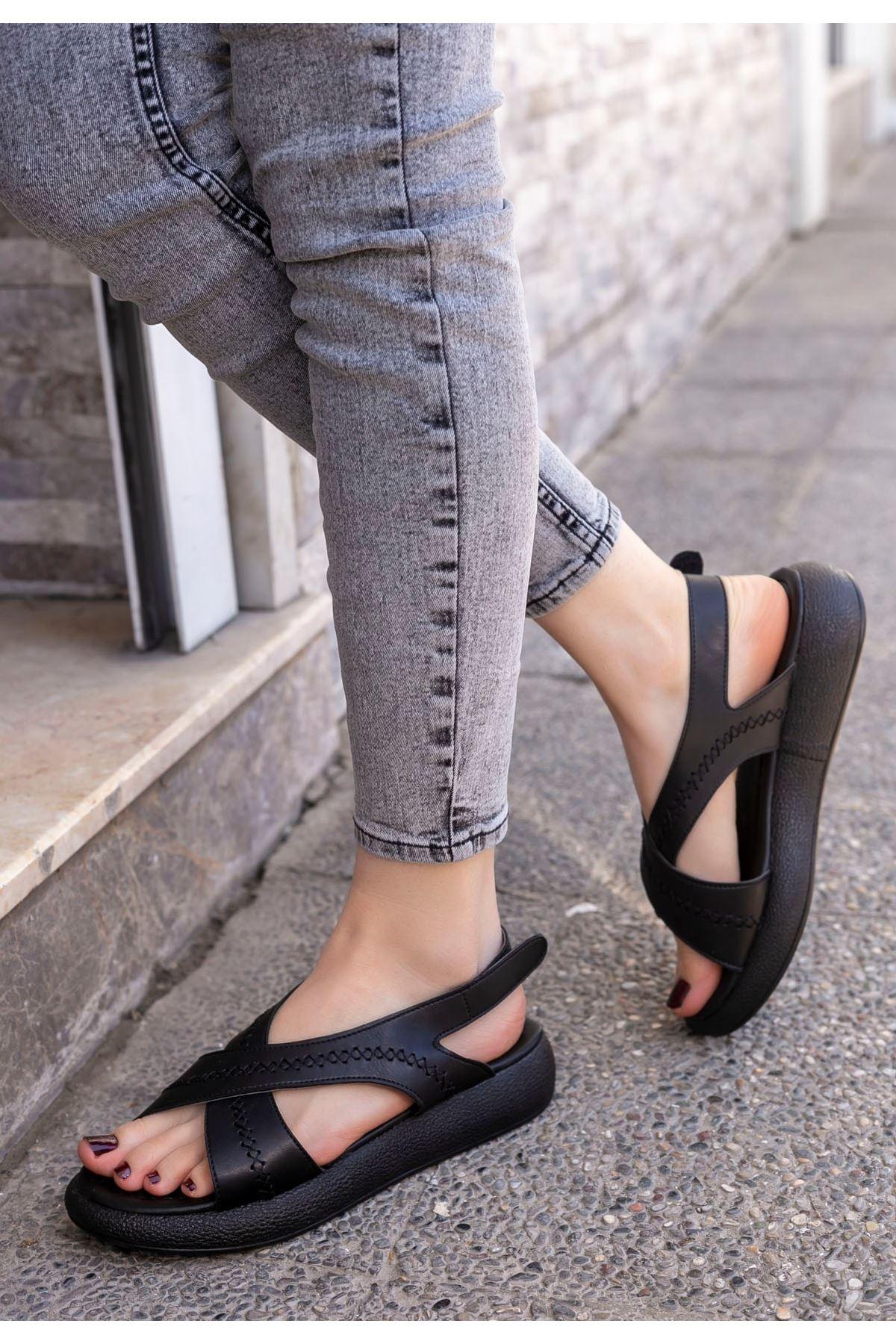 Sharon Siyah Cilt Sandalet