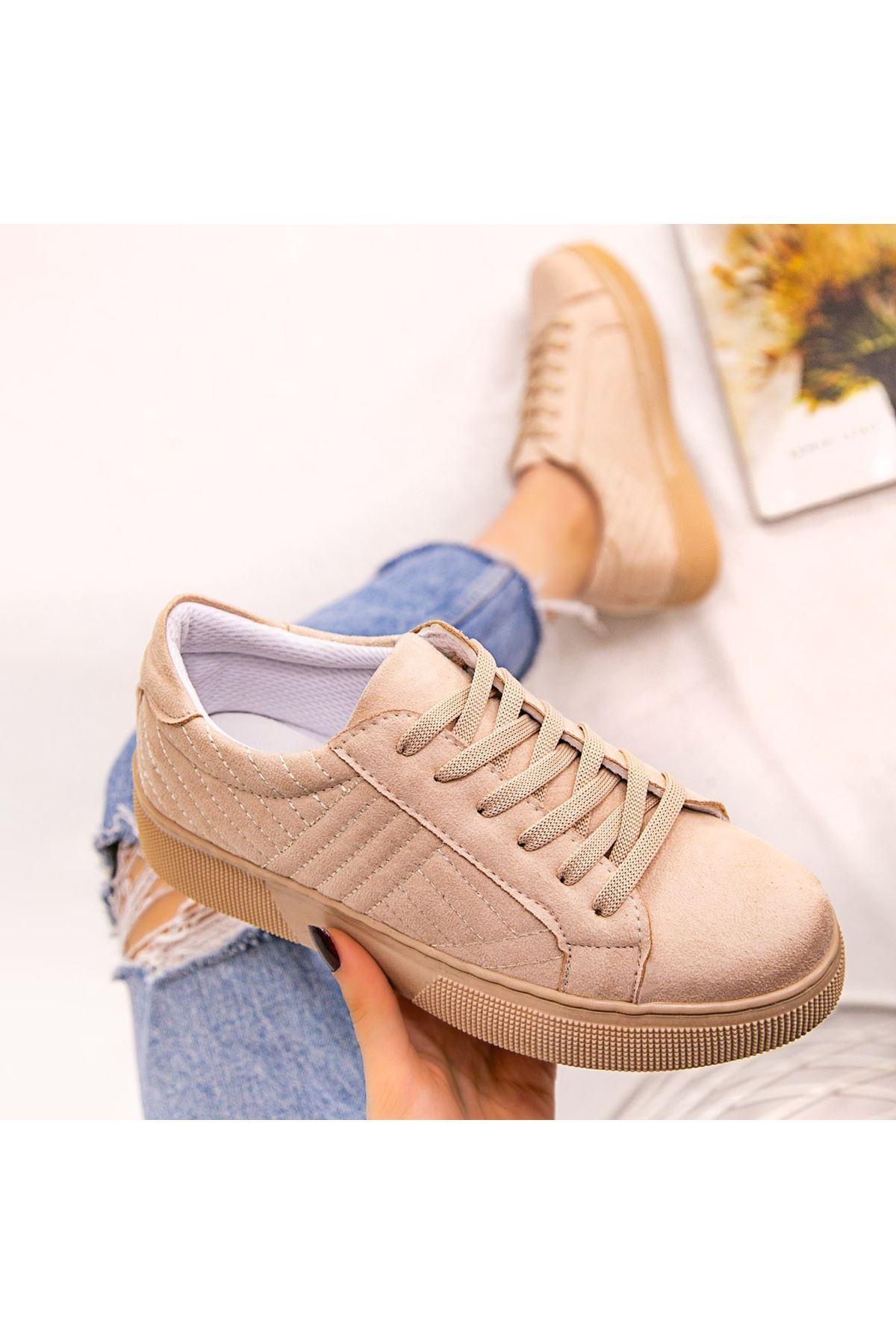 Vika Vizon Süet Bağcıklı Spor Ayakkabı