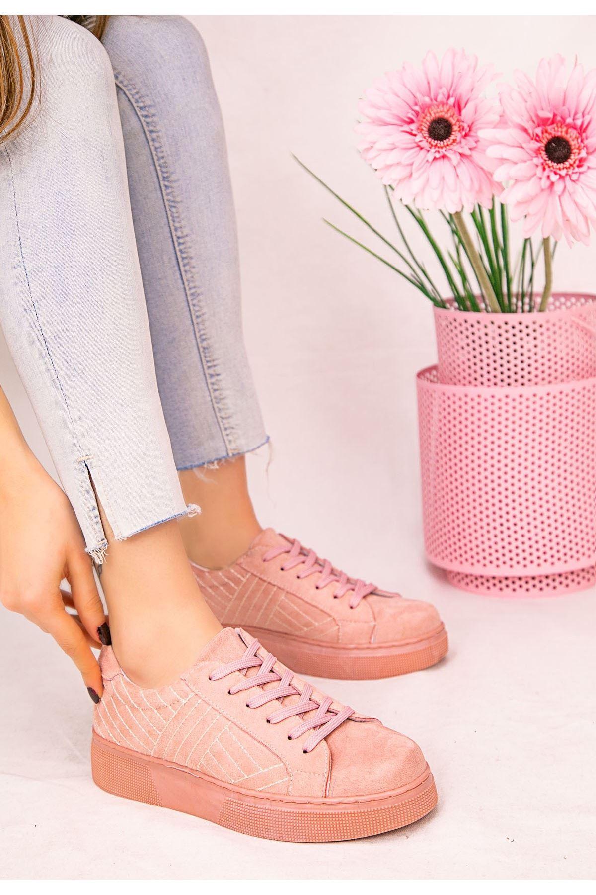 Vika Pudra Süet Bağcıklı Spor Ayakkabı