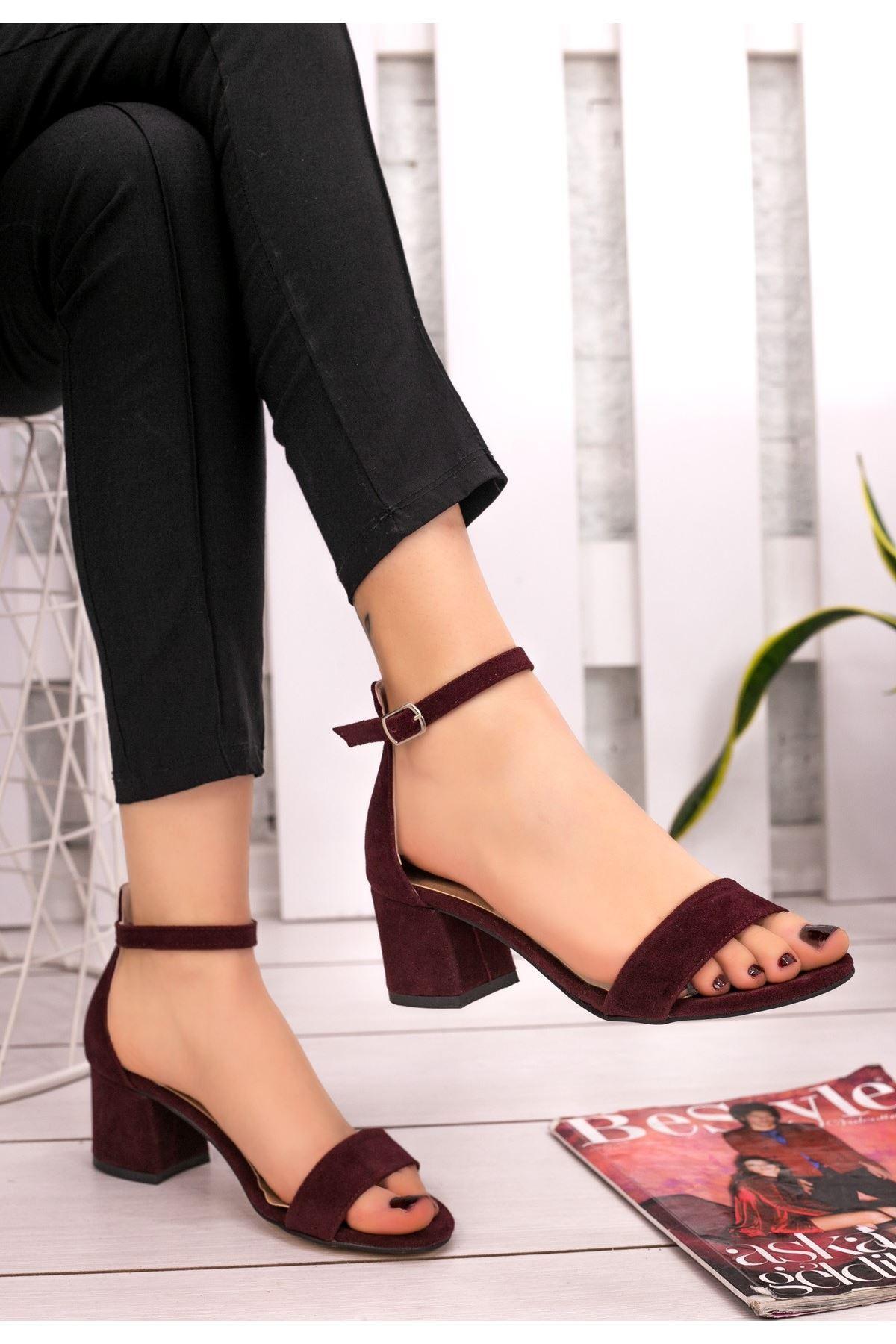 Epon Bordo Süet Tek Bant Topuklu Ayakkabı