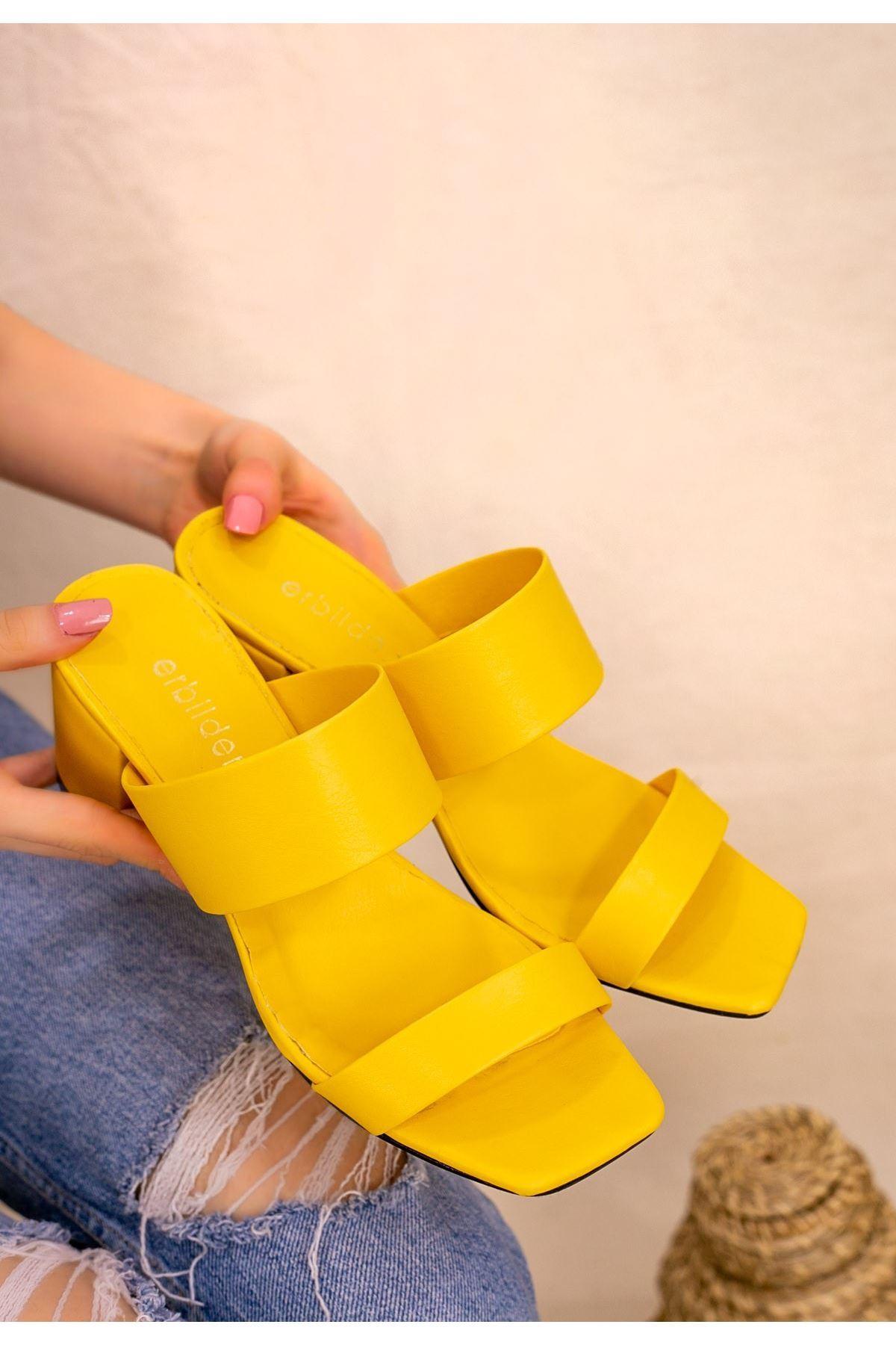 Asper Sarı Cilt Topuklu Terlik