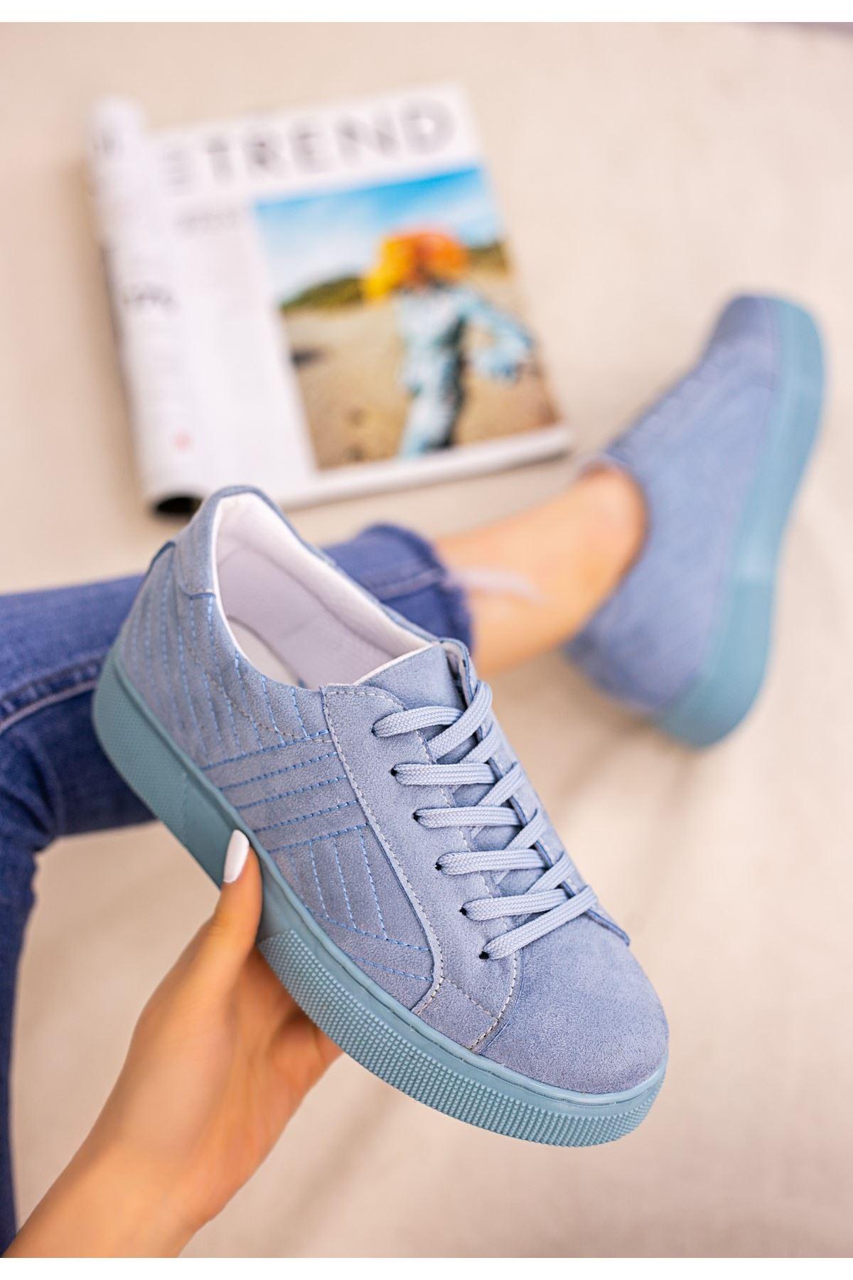 Vika Bebe Mavisi Süet Bağcıklı Spor Ayakkabı