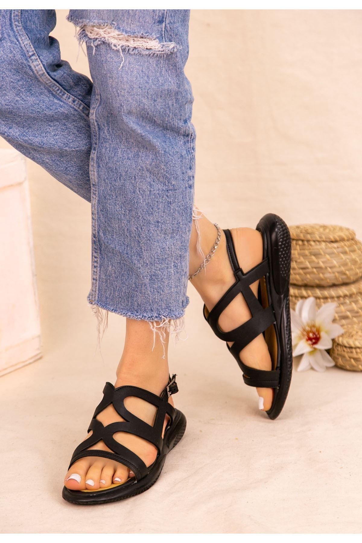 Roil Siyah Cilt Sandalet