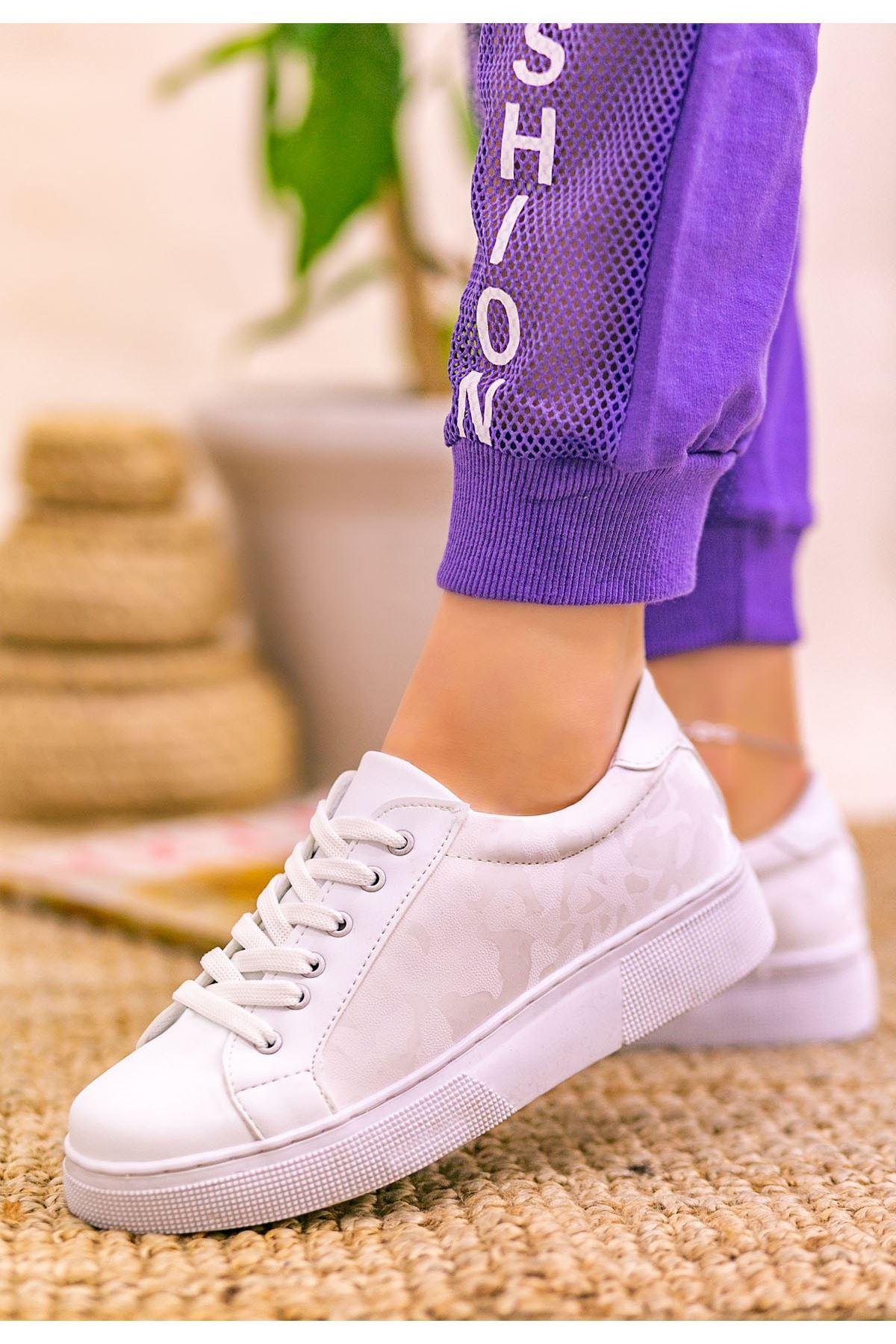 Nean Beyaz Cilt Desenli Bağcıklı Spor Ayakkabı