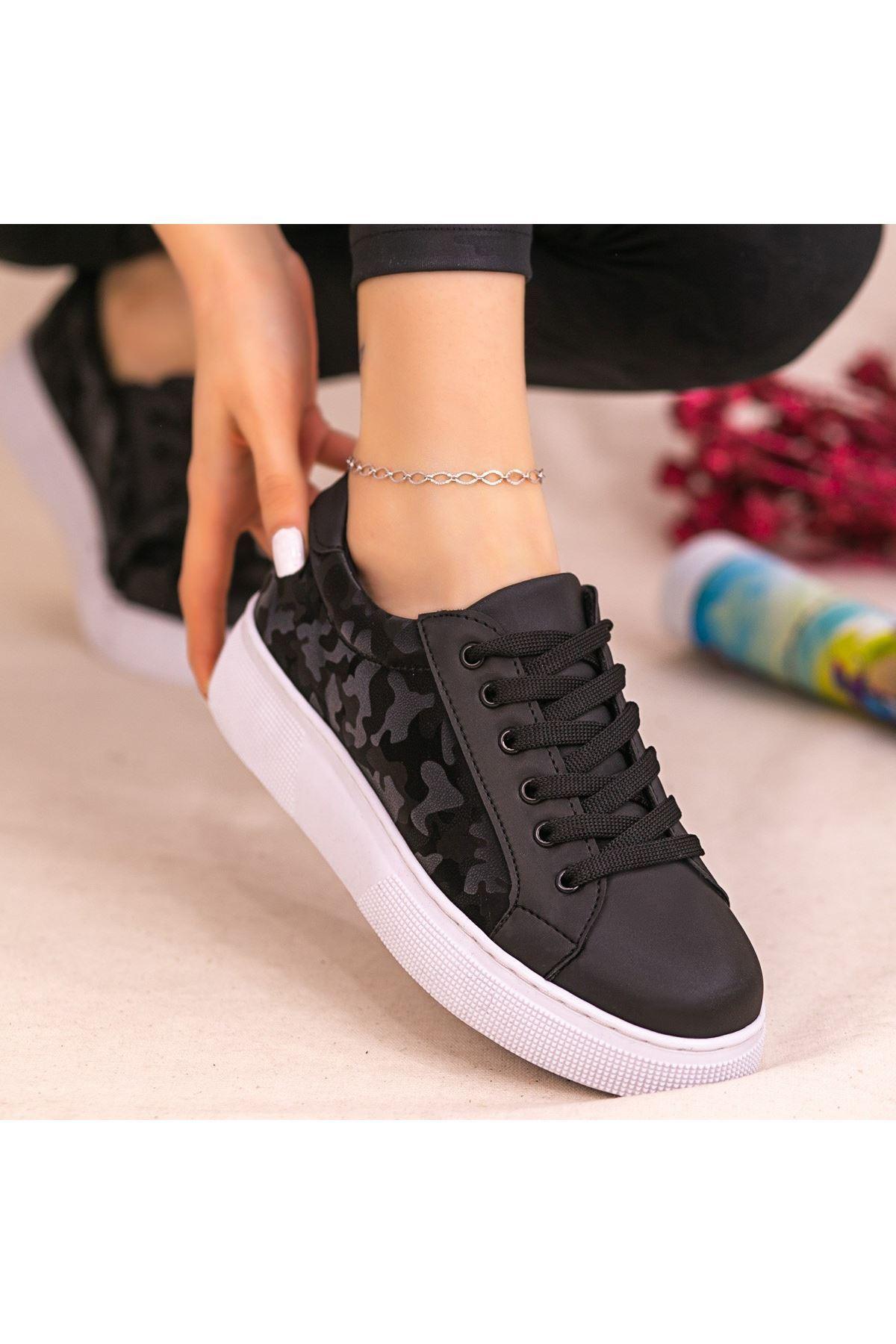 Nean Siyah Cilt Desenli Beyaz Tabanlı Bağcıklı Spor Ayakkabı