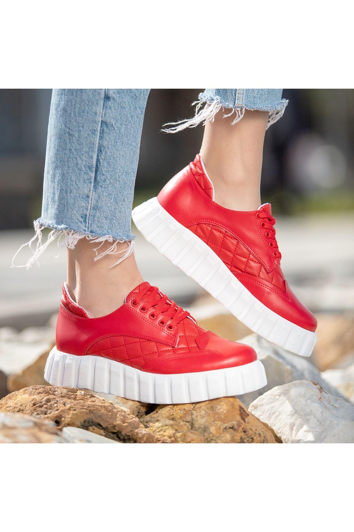 Ola Kırmızı Cilt Bağcıklı Spor Ayakkabı