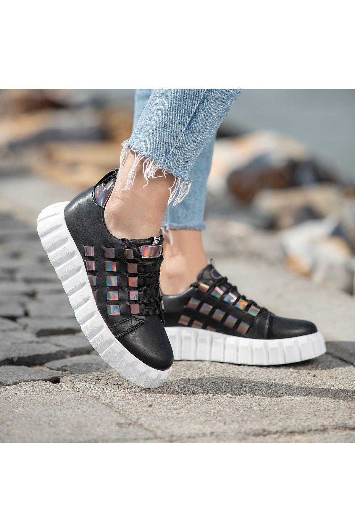 Mitn Siyah Cilt Bağcıklı Spor Ayakkabı