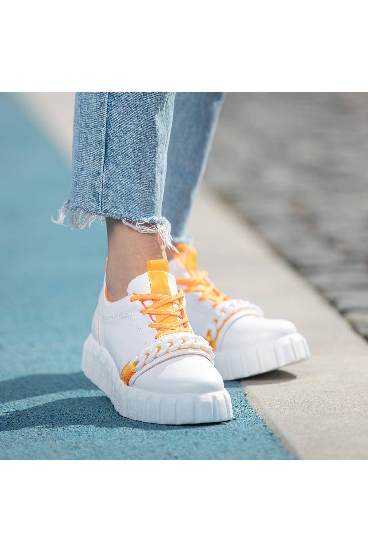 Mya Beyaz Cilt Turuncu Detaylı Bağcıklı Spor Ayakkabı