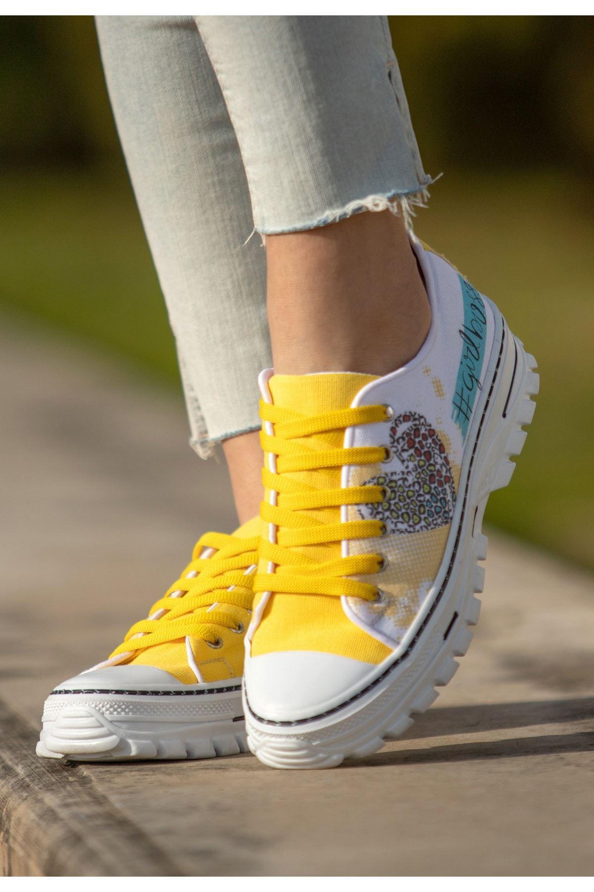 Lorw Sarı Keten Baskılı Spor Ayakkabı