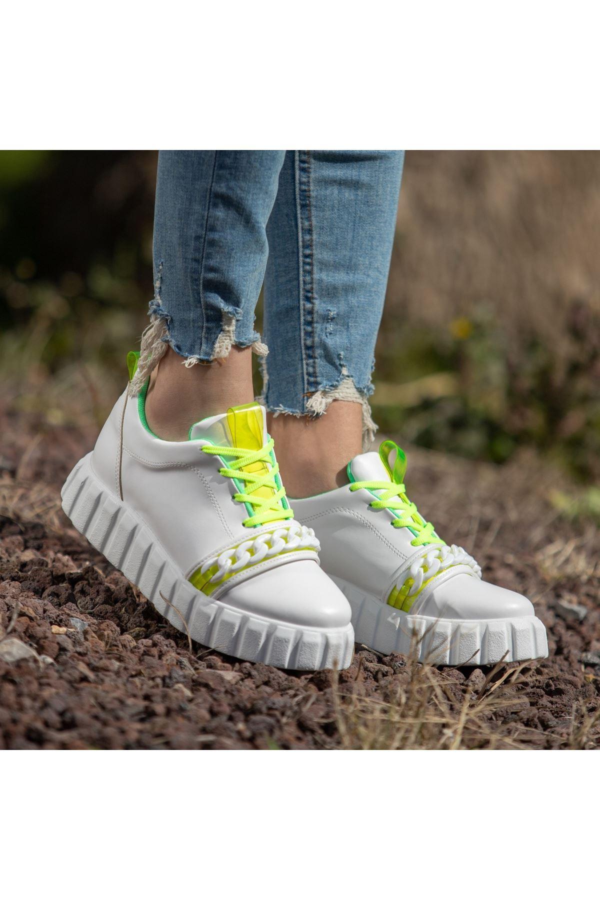 Mya Beyaz Cilt Yeşil Detaylı Bağcıklı Spor Ayakkabı