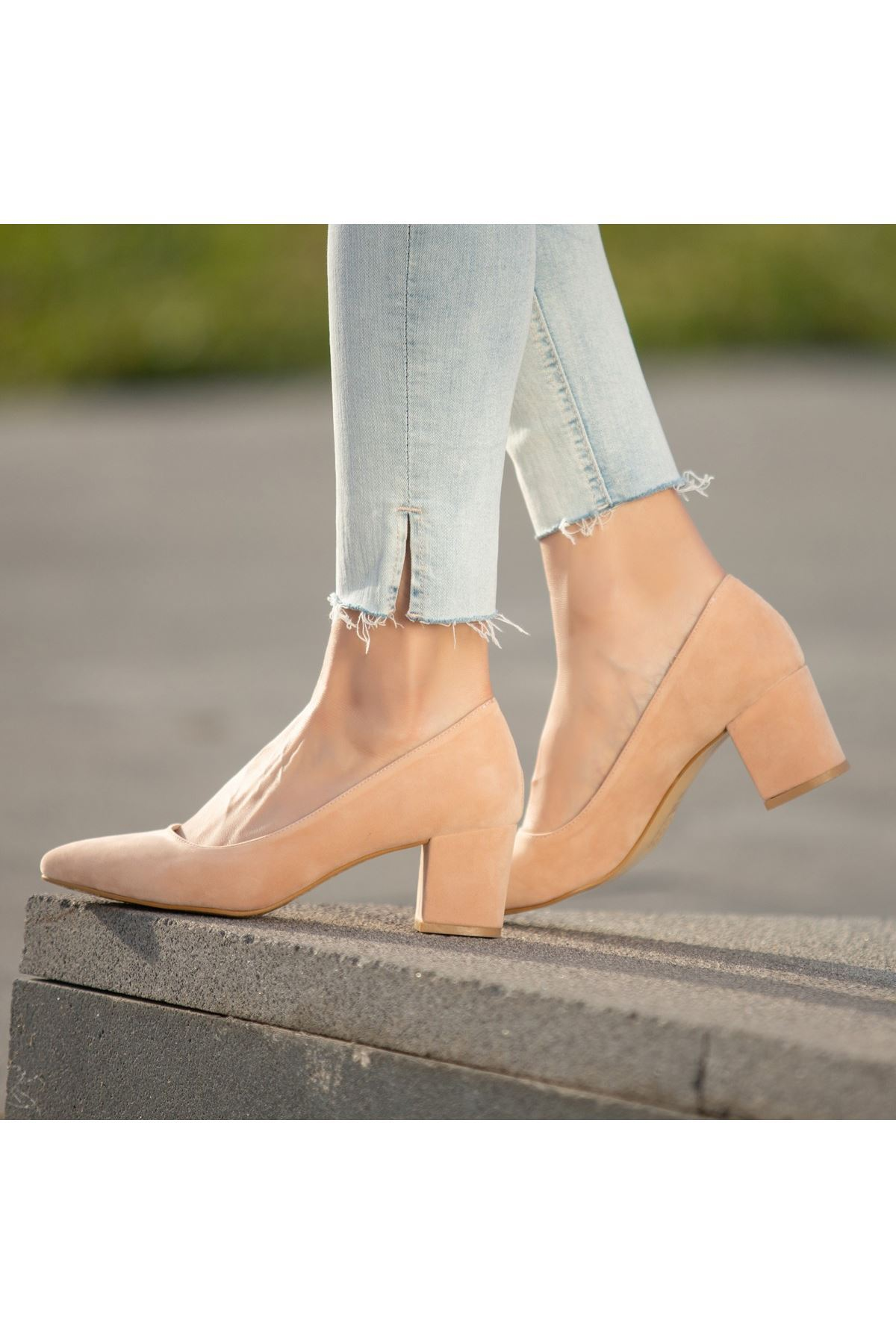 Yaw Pudra Süet Topuklu Ayakkabı