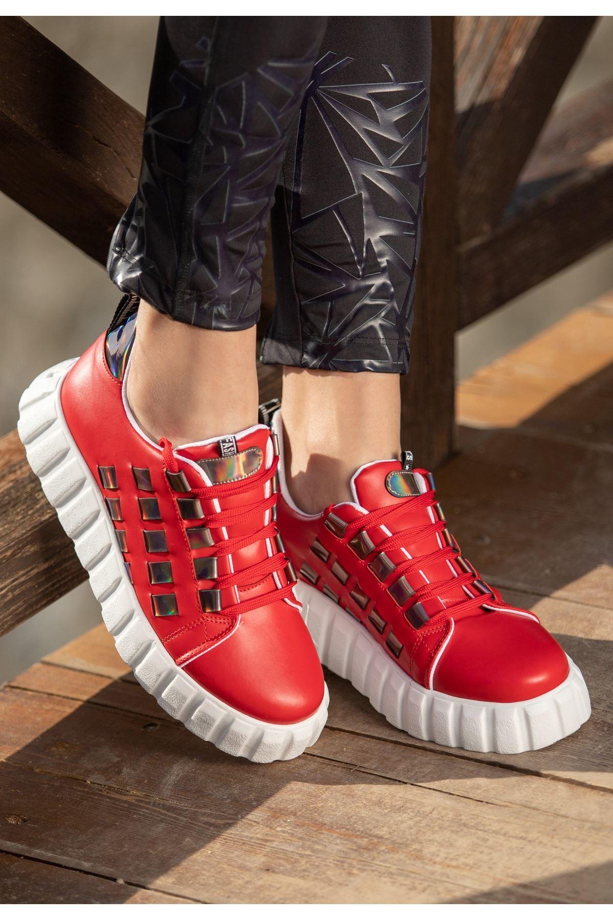 Mitn Kırmızı Cilt Bağcıklı Spor Ayakkabı