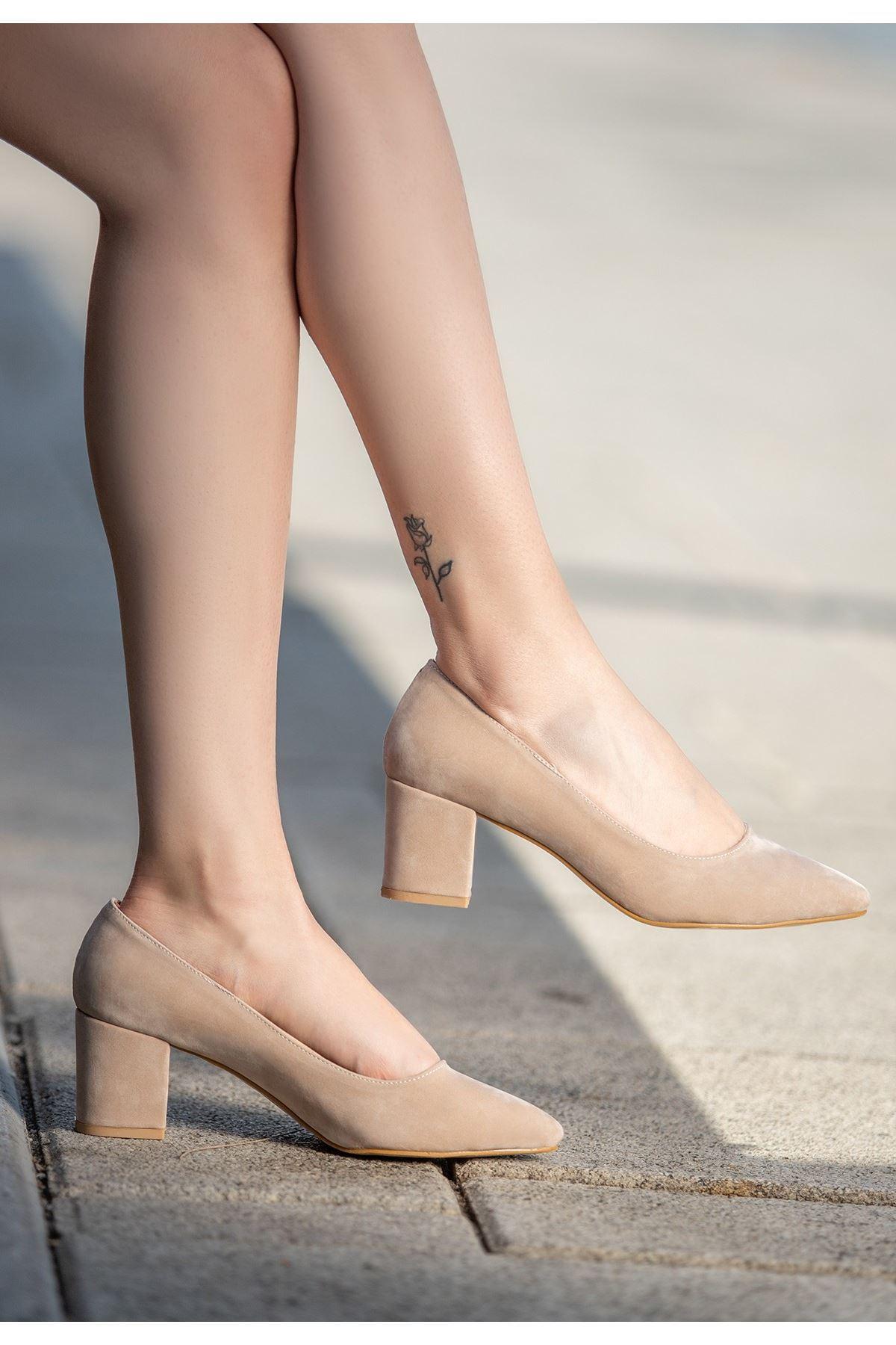 Yaw Vizon Süet Topuklu Ayakkabı