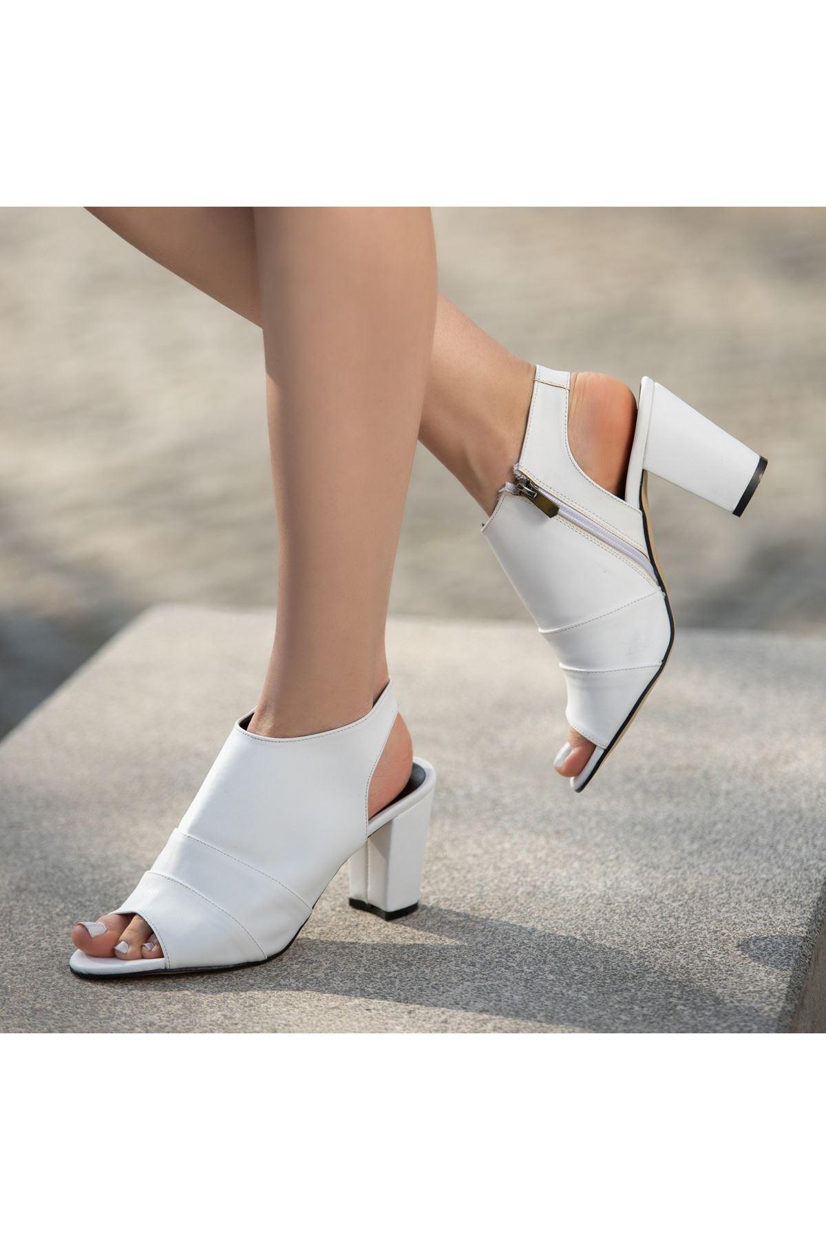 Dolly Beyaz Cilt Topuklu Ayakkabı