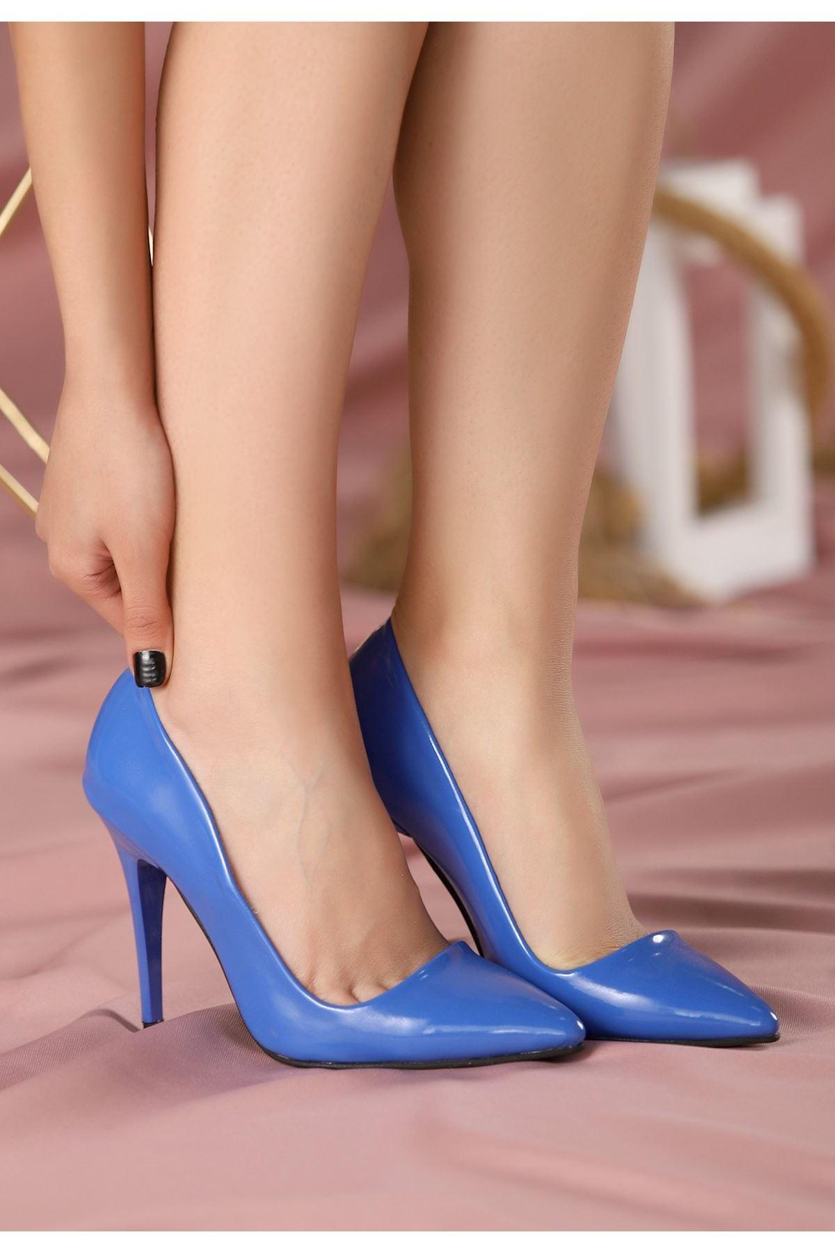 Reme Saks Mavisi Cilt Stiletto Ayakkabı