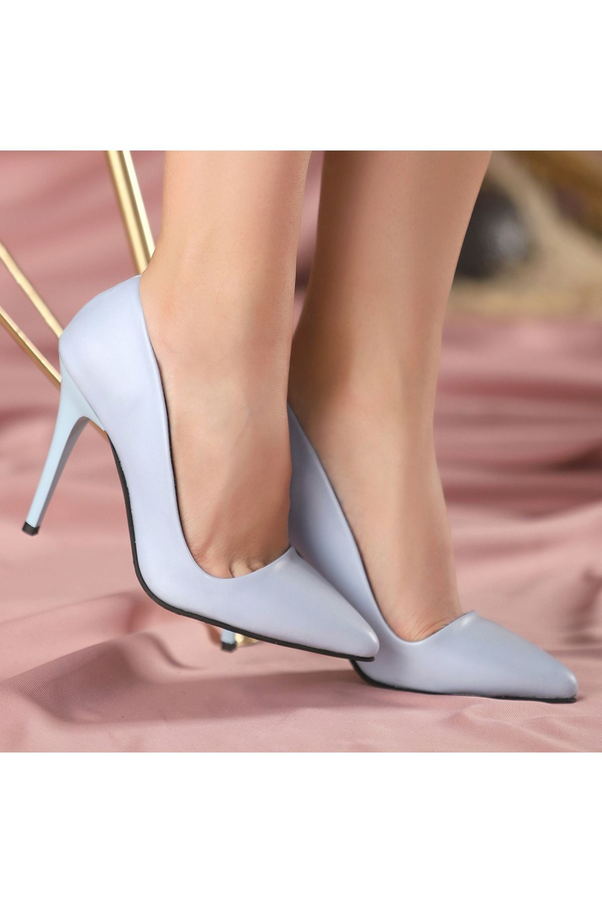 Reme Bebe Mavisi Cilt Stiletto Ayakkabı