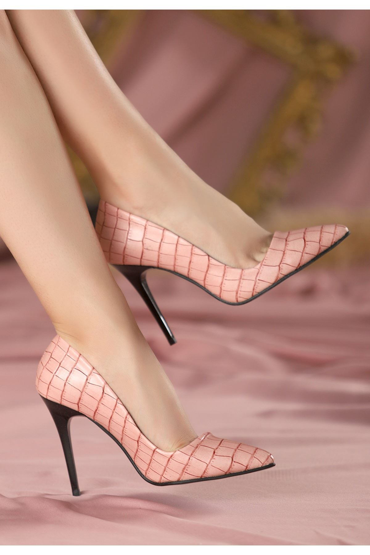 Reme Pudra Cilt Siyah Topuklu Stiletto Ayakkabı