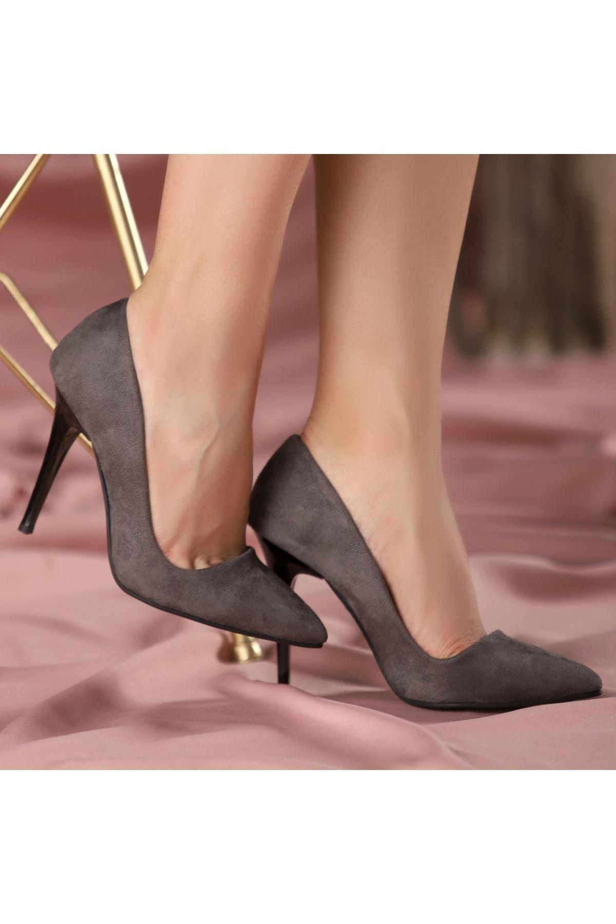 Reme Gri Süet Stiletto Ayakkabı