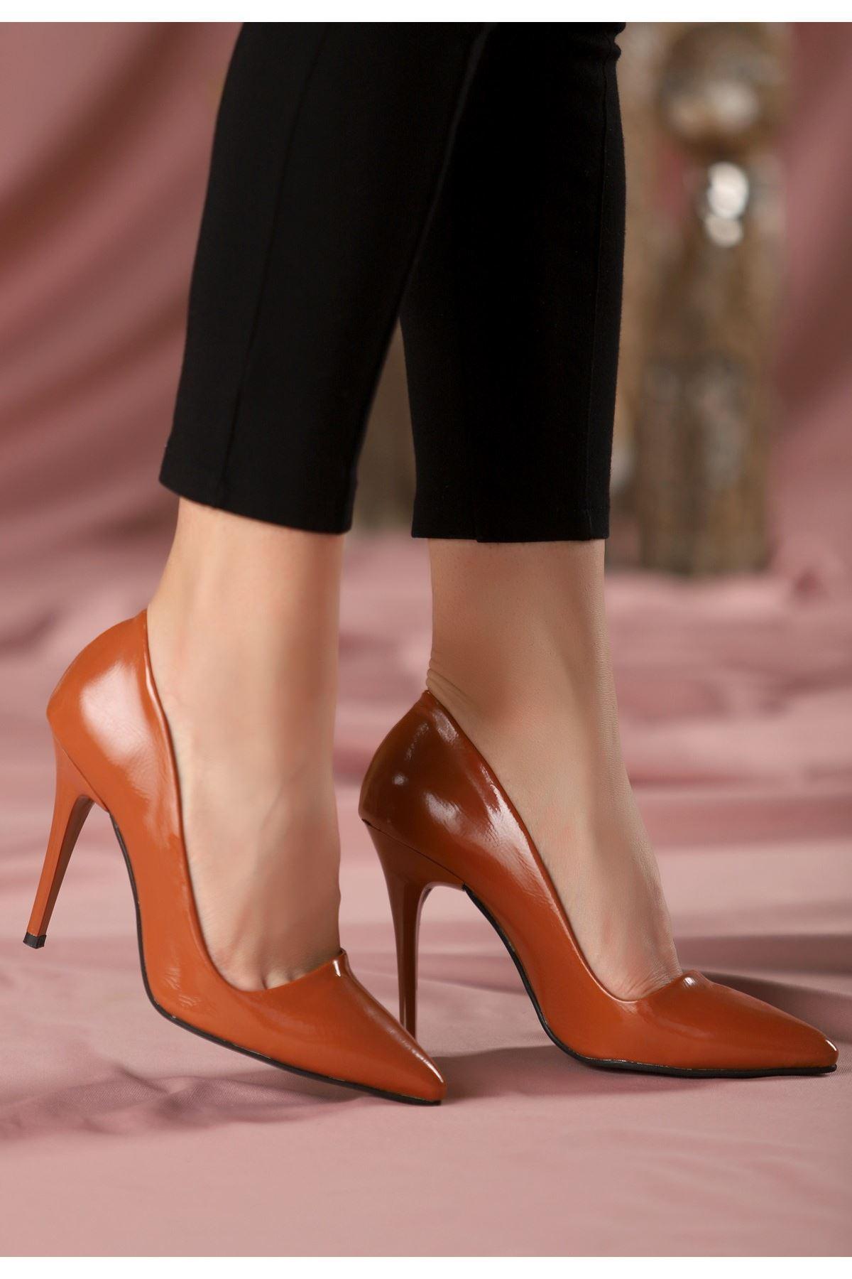 Reme Taba Rugan Stiletto Ayakkabı