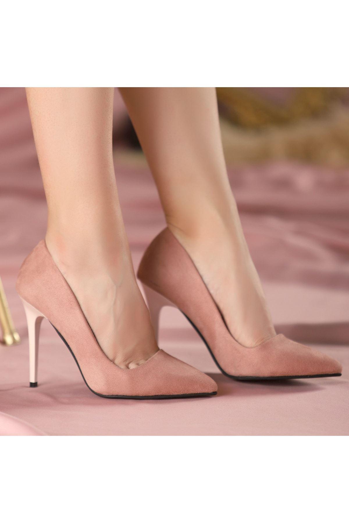 Reme Pudra Süet Stiletto Ayakkabı