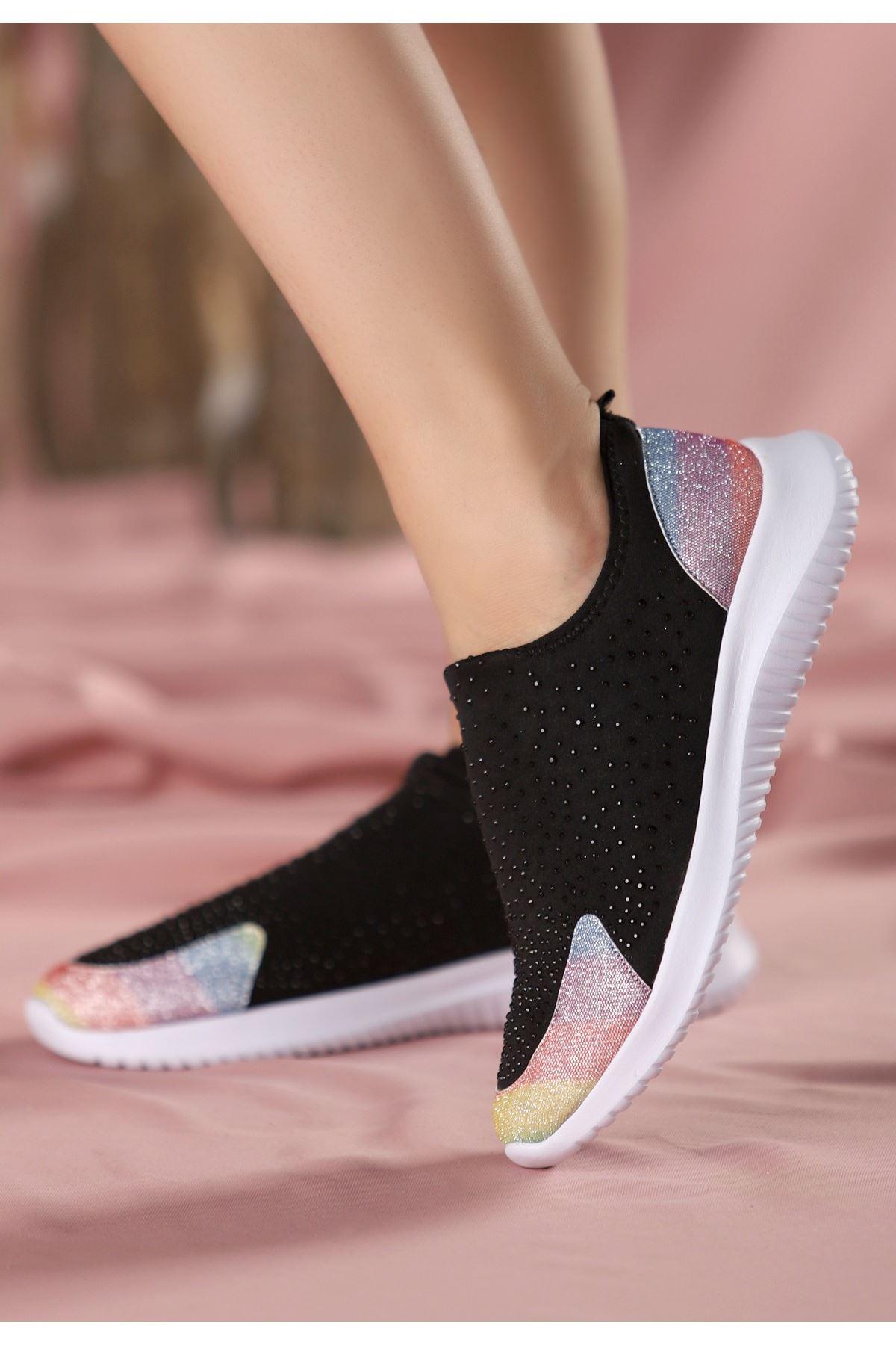Stin Siyah Renkli Boncuk İşlemeli Spor Ayakkabı