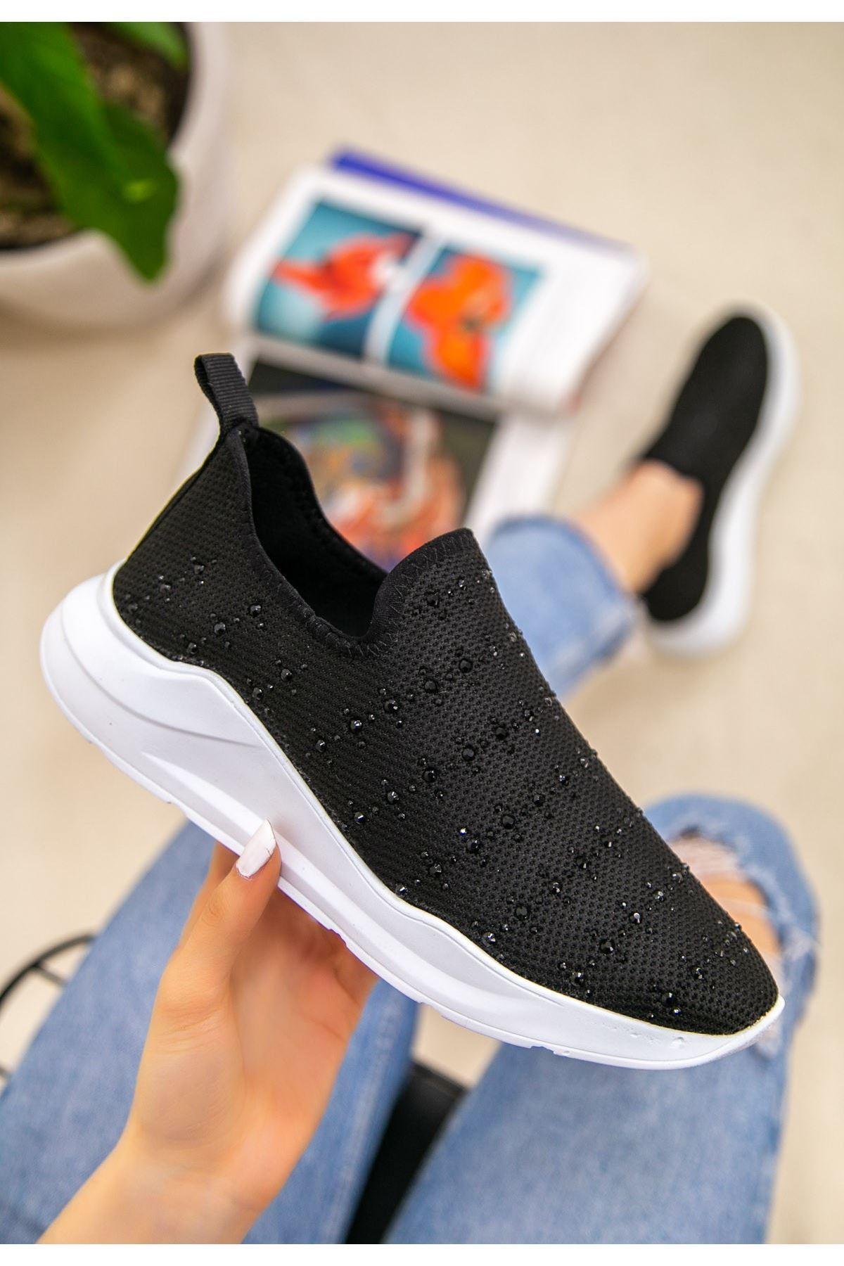 Ejox Siyah Boncuk İşlemeli Spor Ayakkabı