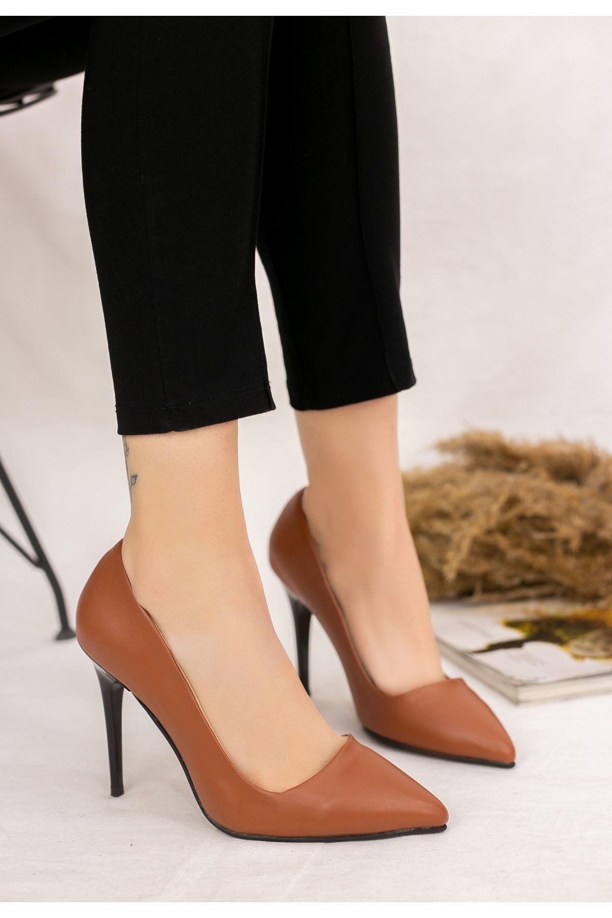 Reme Taba Cilt Stiletto Ayakkabı