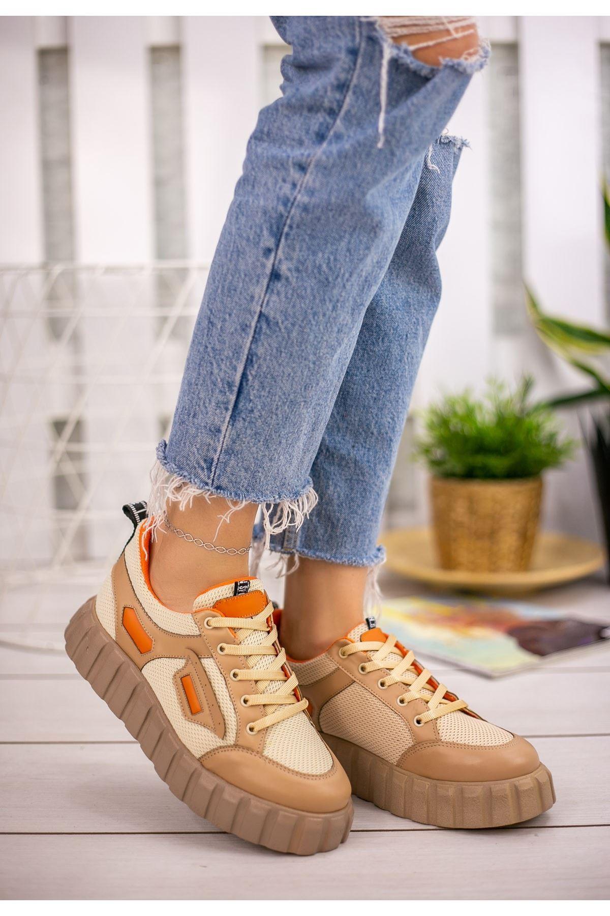 Adna Krem Cilt Bağcıklı Spor Ayakkabı
