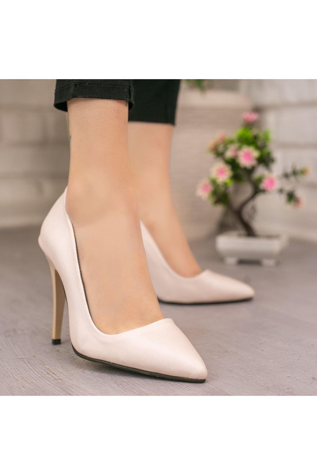 Reme Bej Cilt Stiletto Ayakkabı
