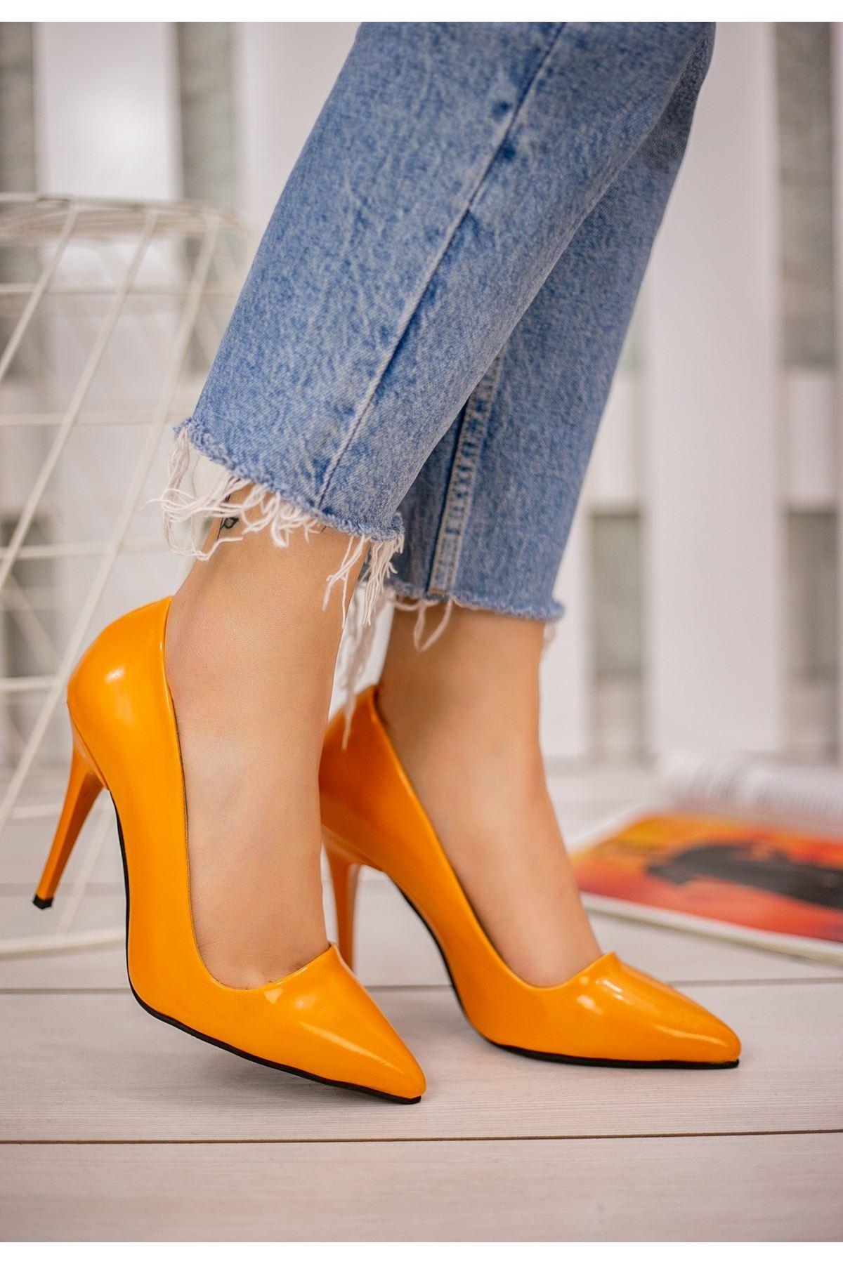 Reme Orenge Rugan Stiletto Ayakkabı