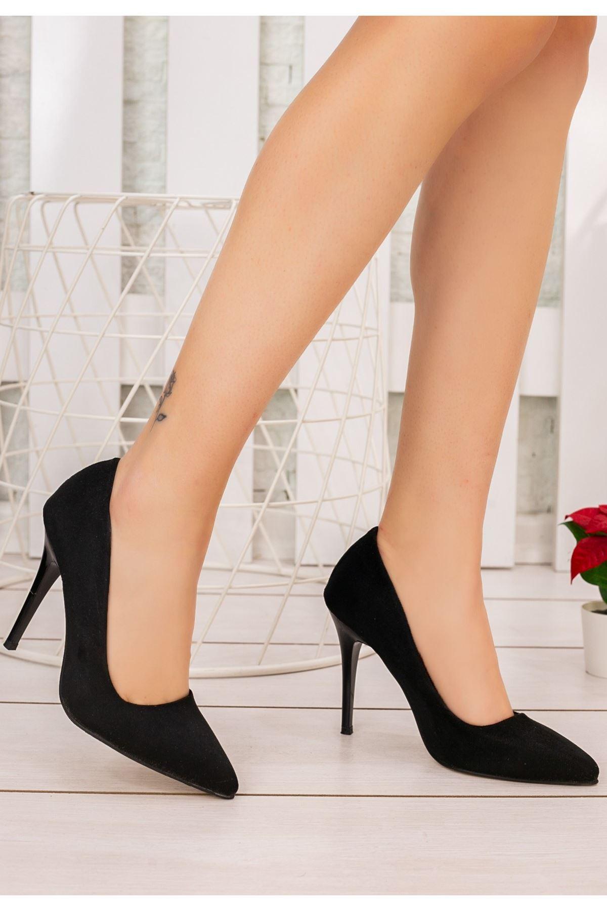 Reme Siyah Süet Stiletto Ayakkabı