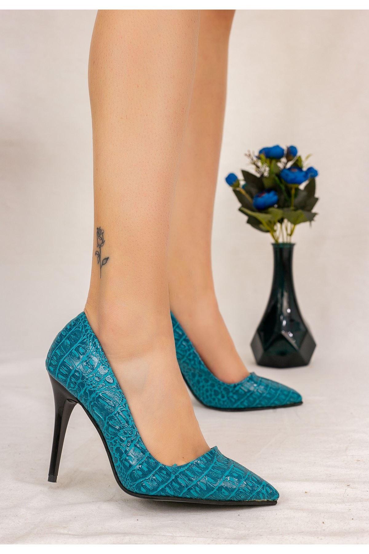 Reme Turkuaz Cilt Desenli Stiletto Ayakkabı