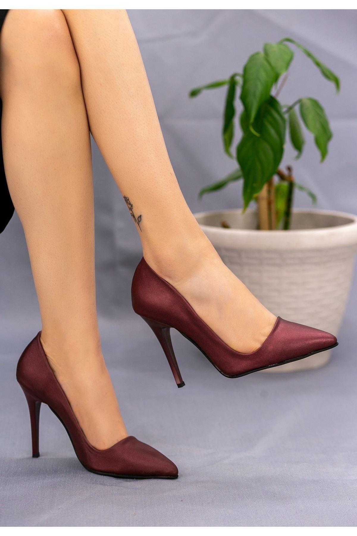 Reme Bordo Cilt Stiletto Ayakkabı
