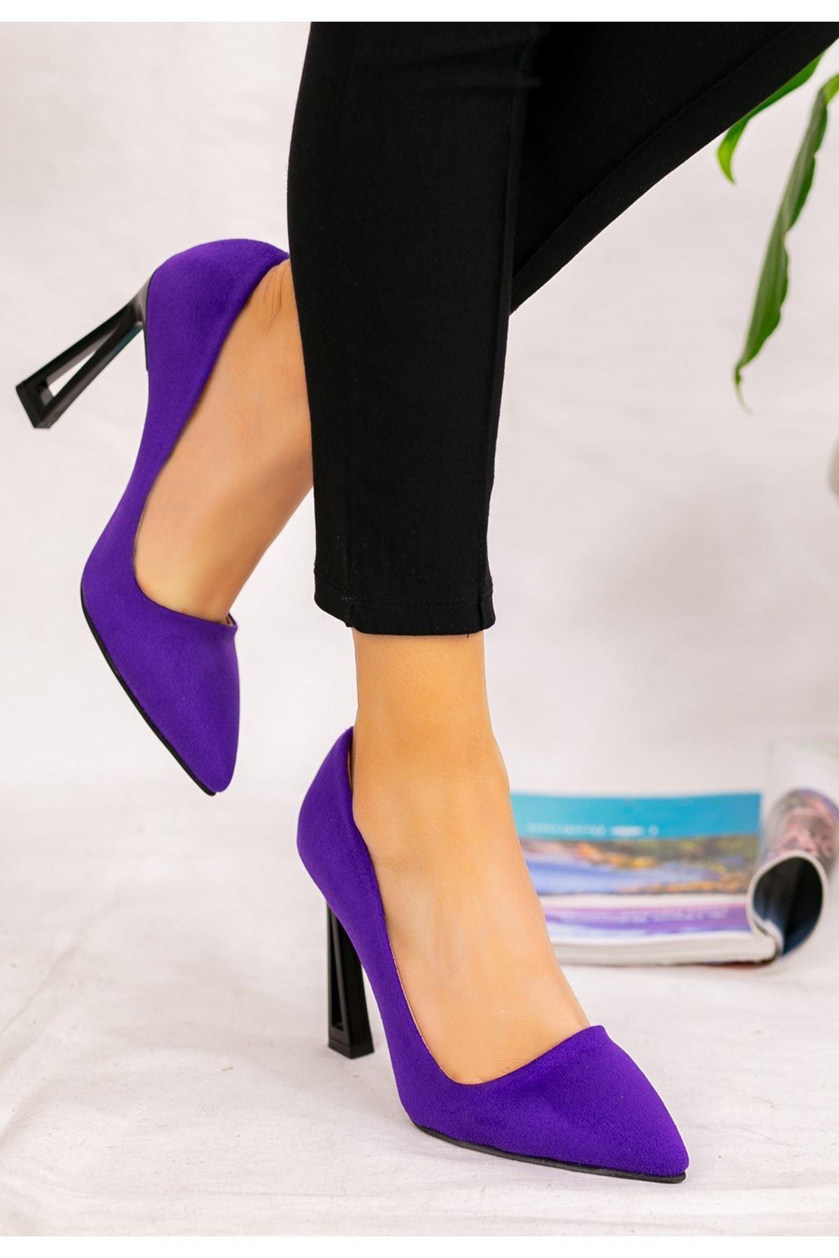 Diye Mor Süet Topuklu Ayakkabı