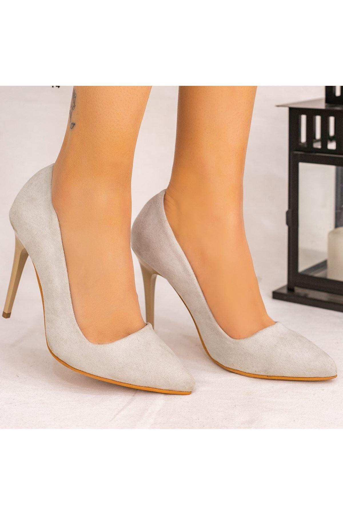 Reme Açık Gri Süet Stiletto Ayakkabı