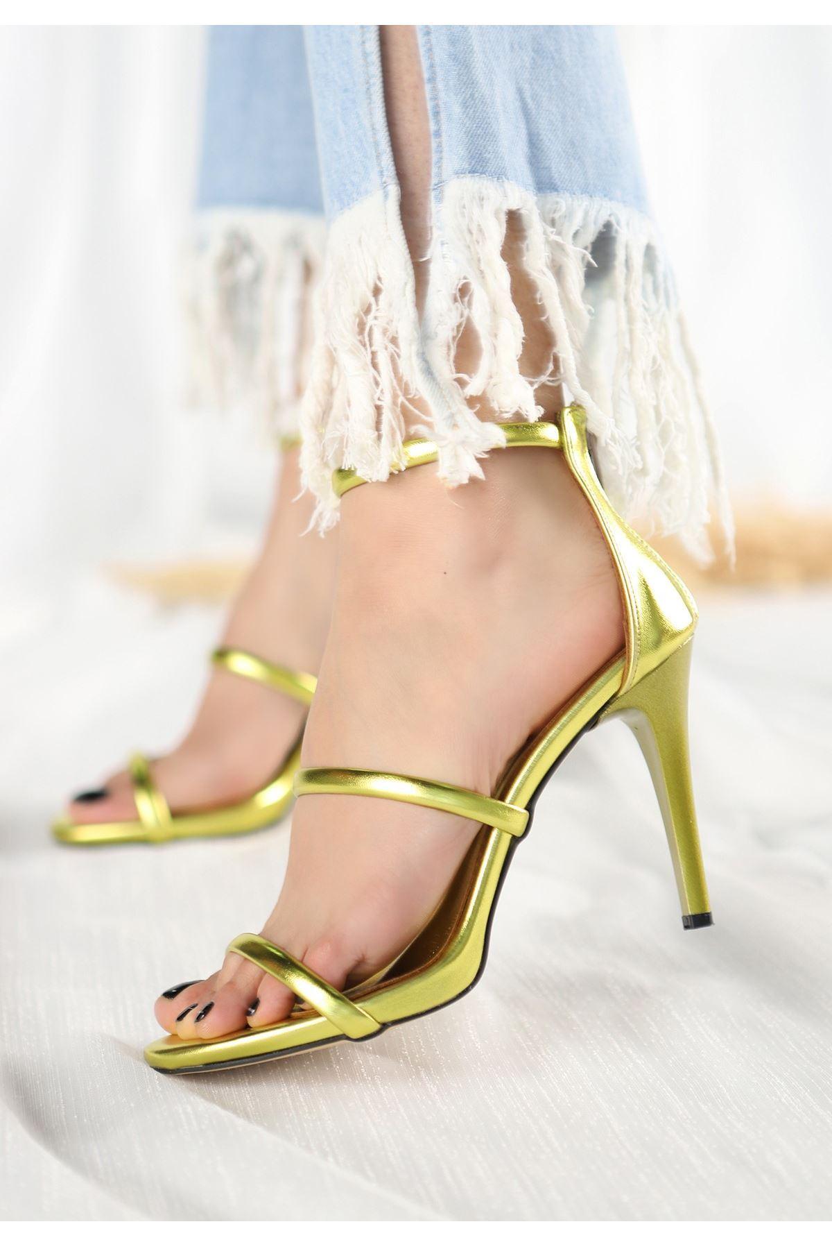 Gise Neon Sarısı Cilt Topuklu Ayakkabı
