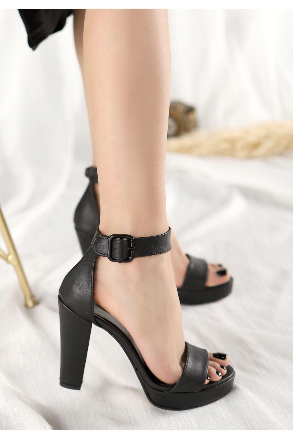 Oxin Siyah Cilt  Platform Topuklu Ayakkabı