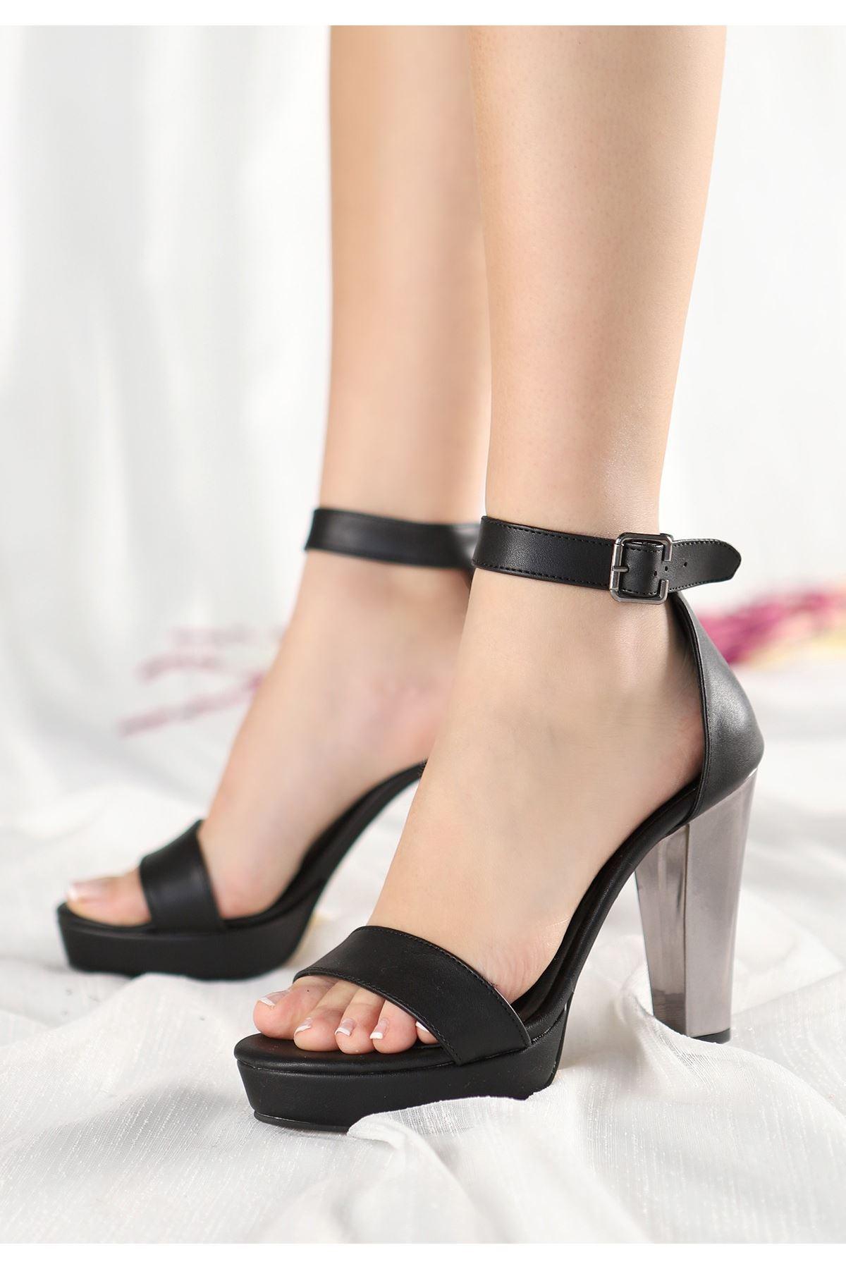 Oxin Siyah Cilt Ayna Platform Topuklu Ayakkabı