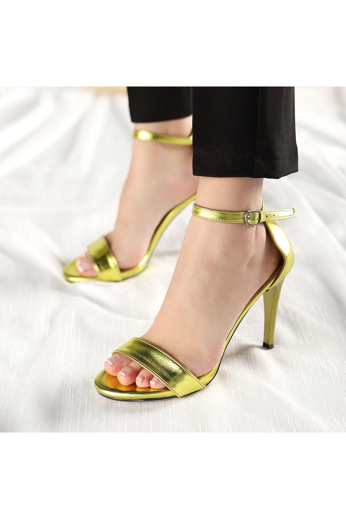 Tima Neon Sarısı Cilt Topuklu Ayakkabı