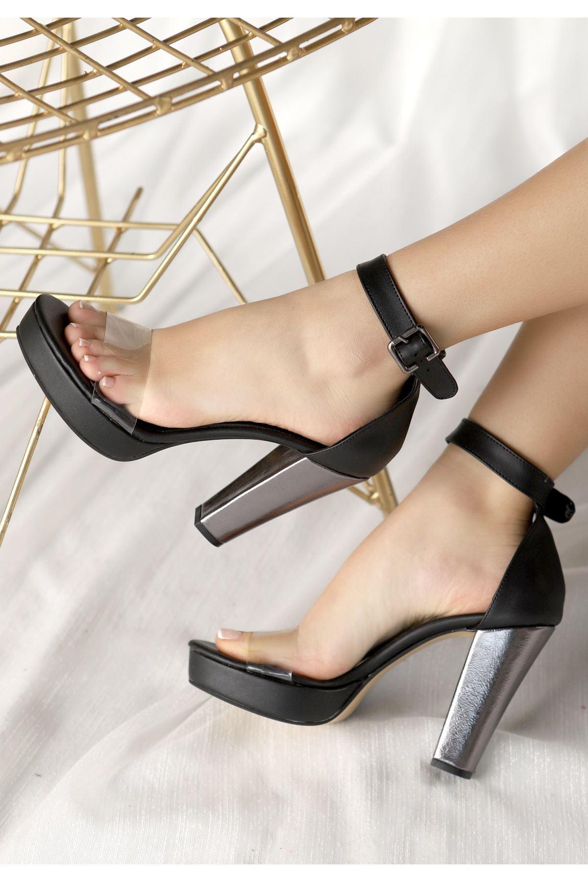Oxin Siyah Cilt Şeffaf Bantlı Platform Topuklu Ayakkabı