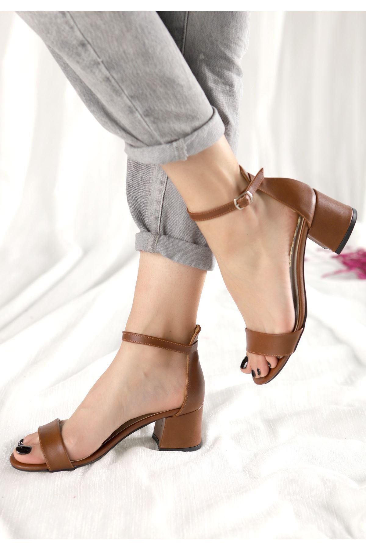 Epon Taba Cilt Tek Bant Topuklu Ayakkabı