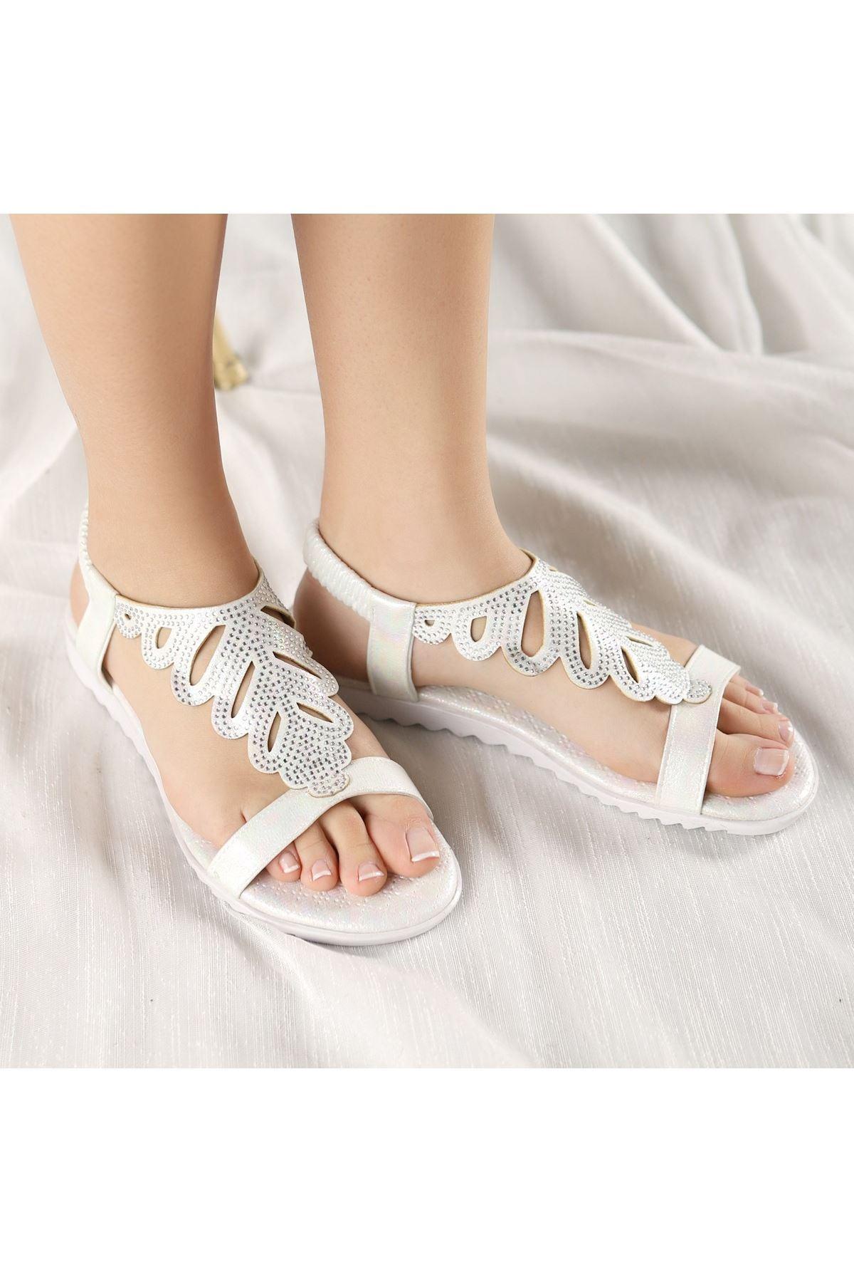 Braix Sedef Cilt Sandalet