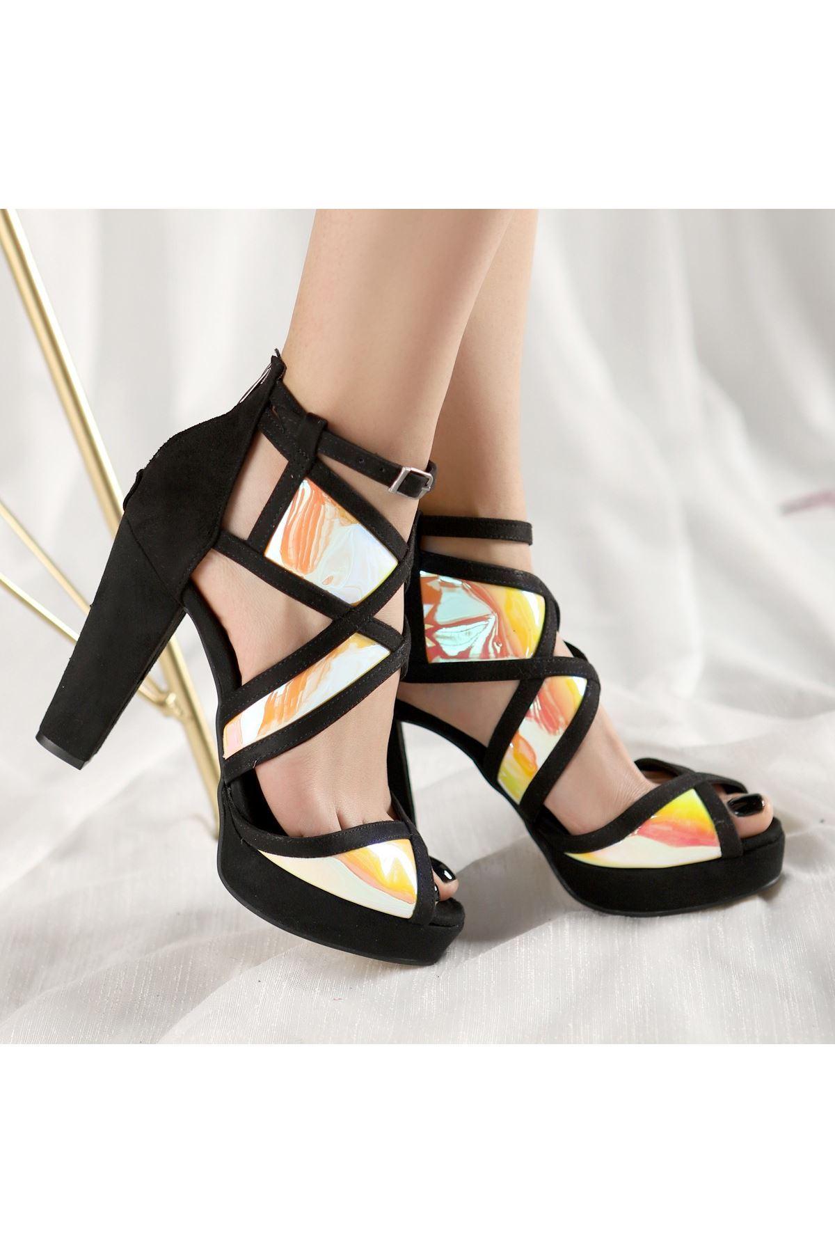 Neani Siyah Süet Sarı Hologramlı Ayakkabı