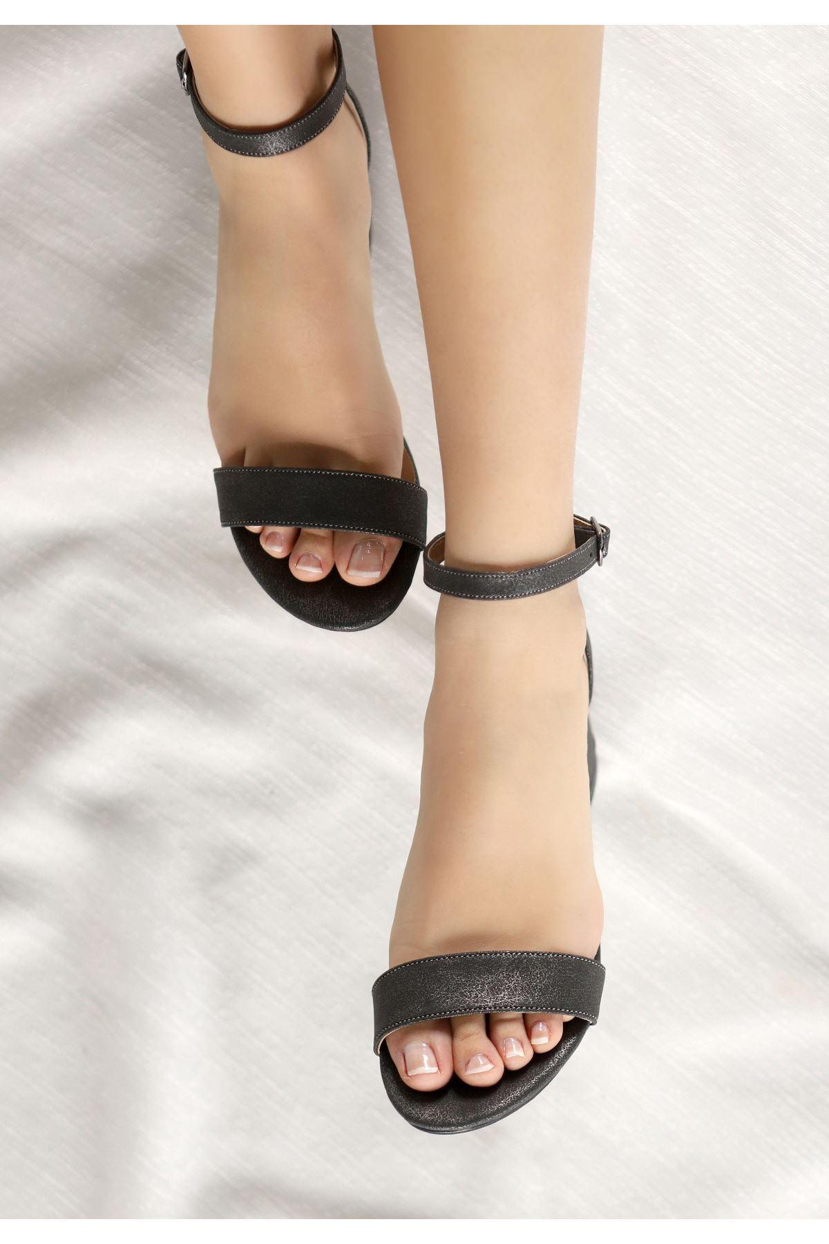 Epon Füme Cilt Desenli Tek Bant Topuklu Ayakkabı