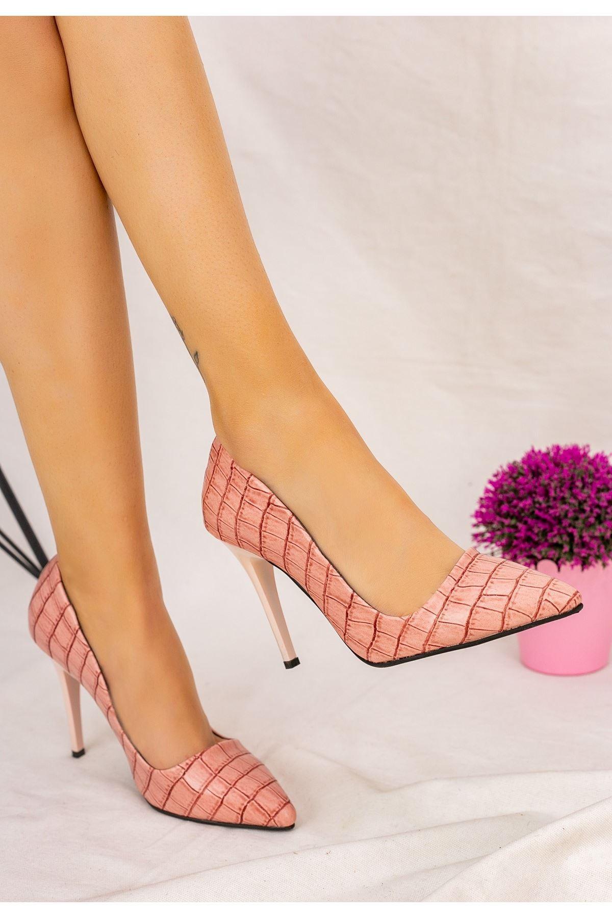 Reme Pudra Cilt Pembe Topuklu Stiletto Ayakkabı