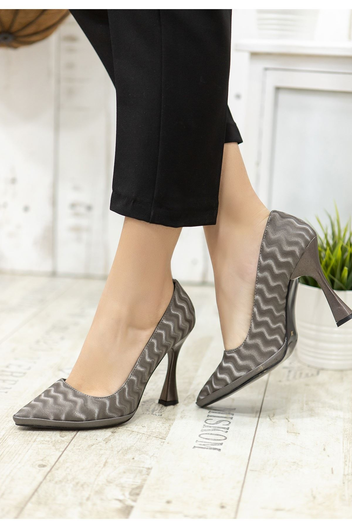 Lite Füme Süet Topuklu Ayakkabı