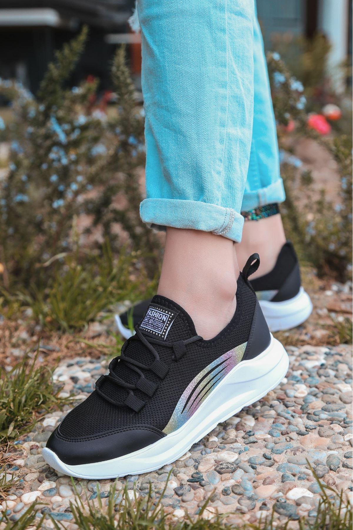Crid Siyah Cilt Bağcıklı Spor Ayakkabı